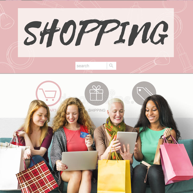 Shopping Online Consumerism Connection Sale Concept. People Going Shopping Online Consumerism Connection Sale stock images
