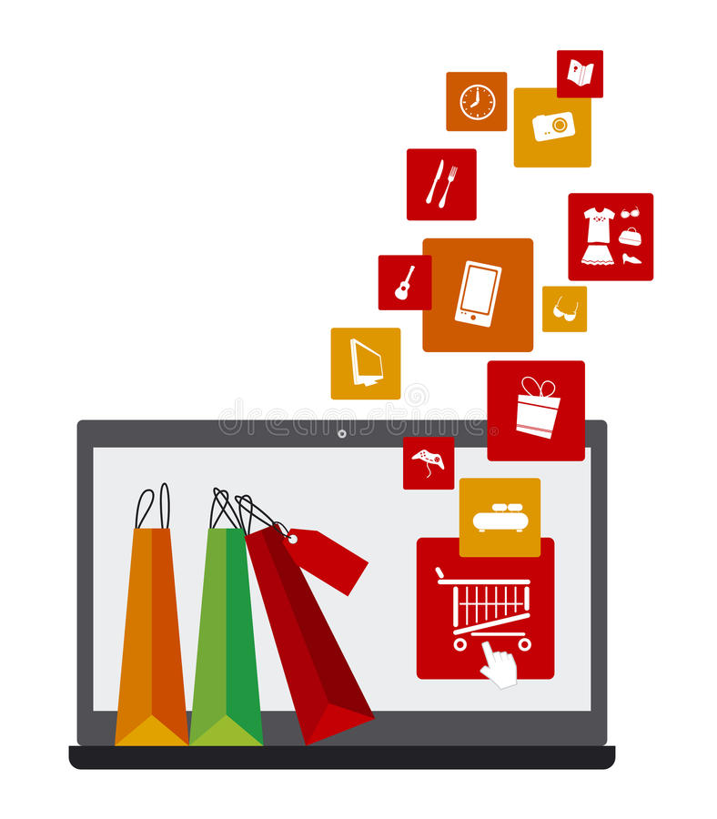 Shopping online royalty free illustration
