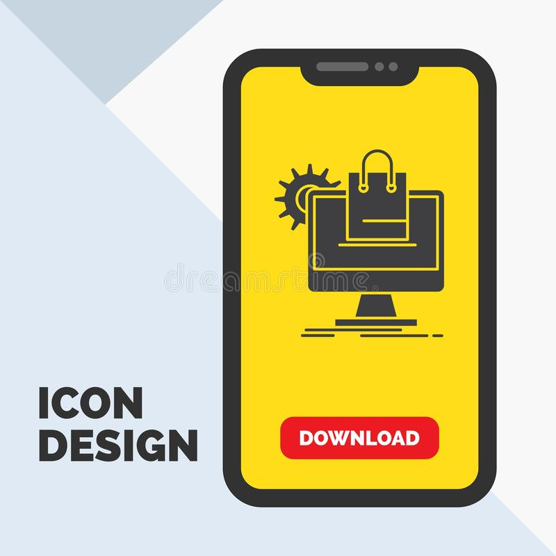 shopping, online, ecommerce, services, cart Glyph Icon in Mobile for Download Page. Yellow Background vector illustration