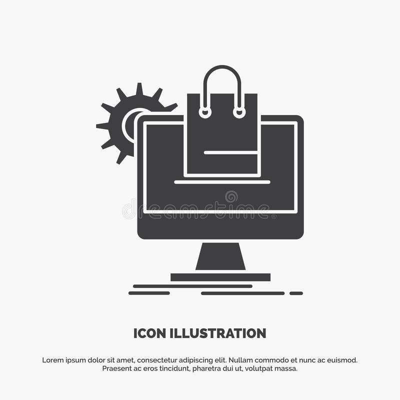 shopping, online, ecommerce, services, cart Icon. glyph vector gray symbol for UI and UX, website or mobile application royalty free illustration