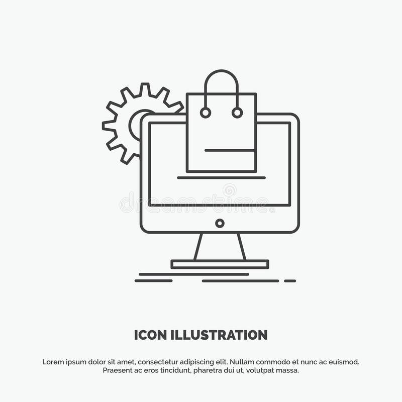 shopping, online, ecommerce, services, cart Icon. Line vector gray symbol for UI and UX, website or mobile application stock illustration