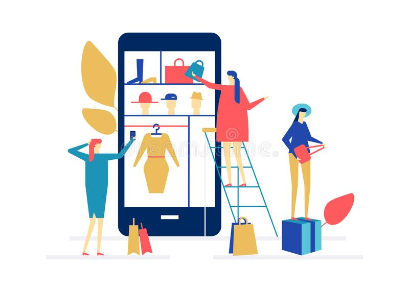 Shopping online - flat design style colorful illustration royalty free illustration