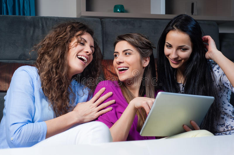 Shopping online with girls stock photos