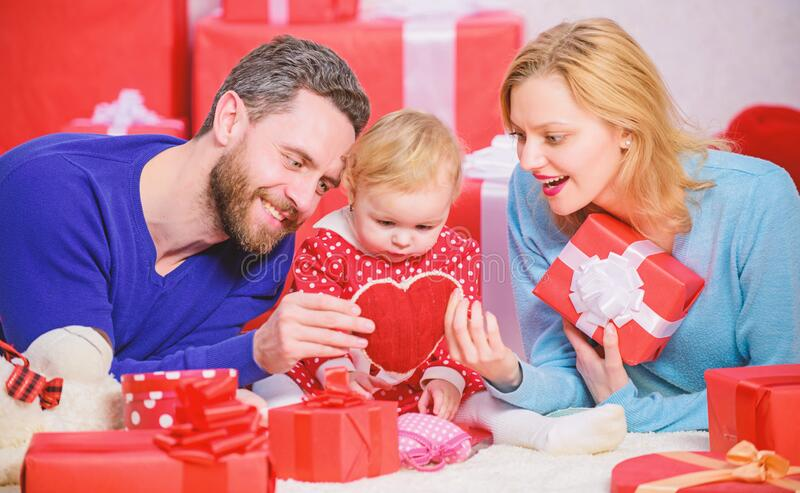 Shopping online. Happy loving couple. Happy family with present box. Love and trust in family. Bearded man and woman royalty free stock photo