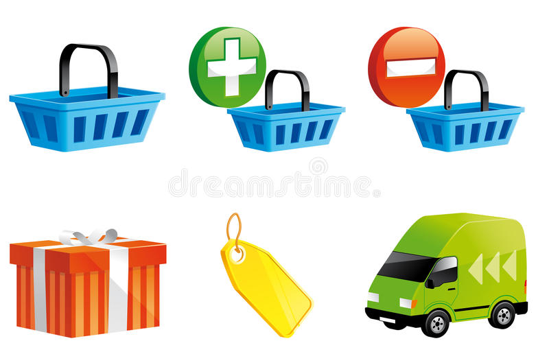 Shopping Online Icons Stock Photography