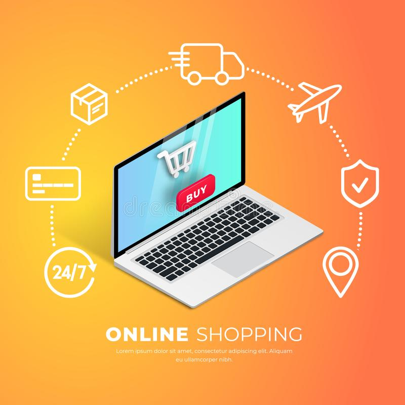SHopping online with line icons royalty free illustration