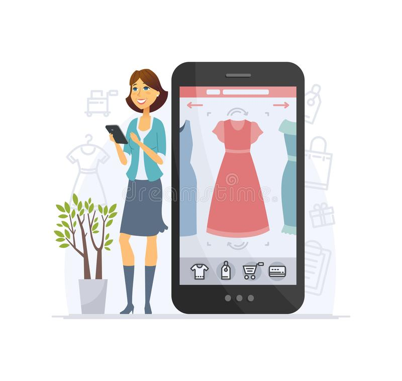 Shopping online - modern vector cartoon character illustration stock illustration