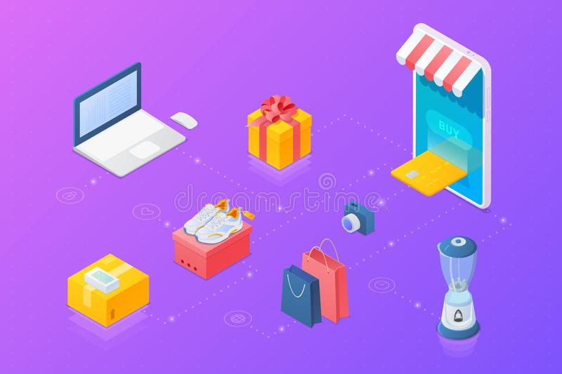 Shopping Online objects collection Isometric vector: Mobile phone as Web store, Laptop notebook, present box, shopping bags, shoes vector illustration