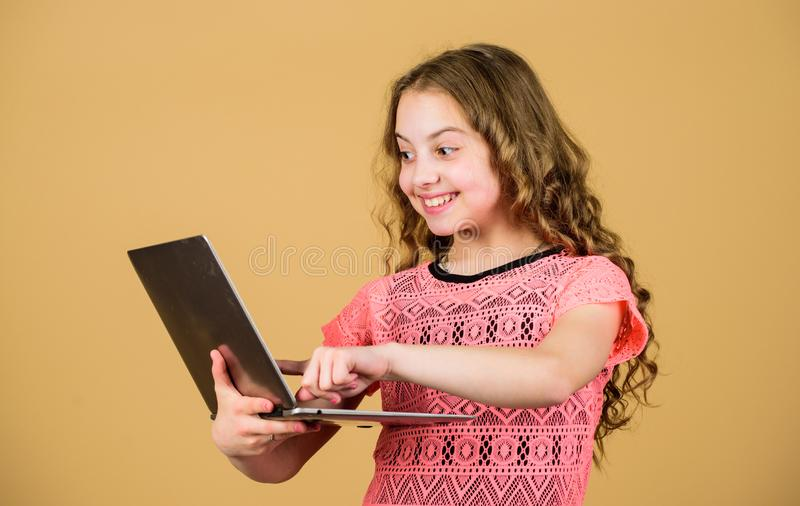 Shopping online. school project. happy small girl with notebook. child development in digital age. video call by web cam. Home schooling education. business royalty free stock images