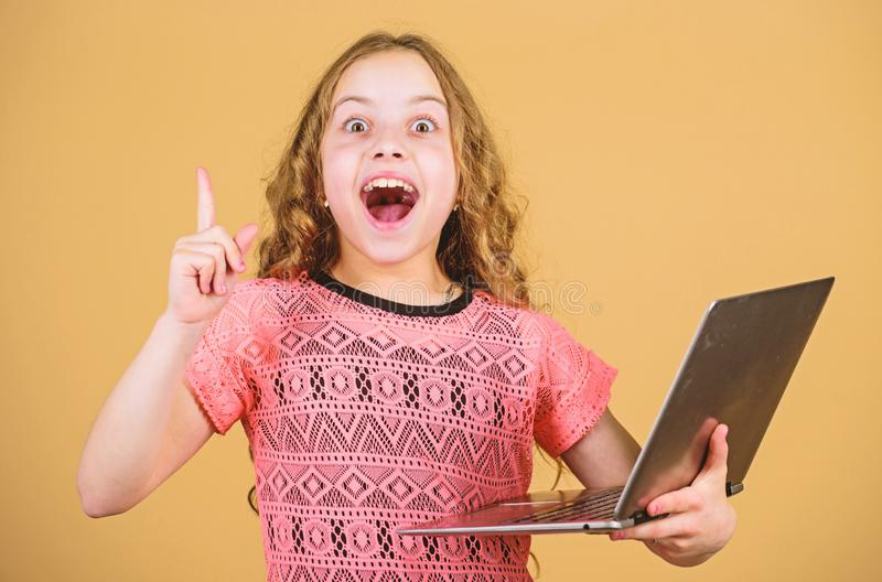 Shopping online. school project. home schooling education. happy small girl with notebook. child development in digital. Age. video call by web cam. business stock images