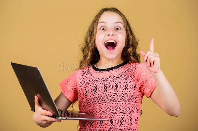 Shopping online. school project. home schooling education. happy small girl with notebook. child development in digital. Age. video call by web cam. business royalty free stock image