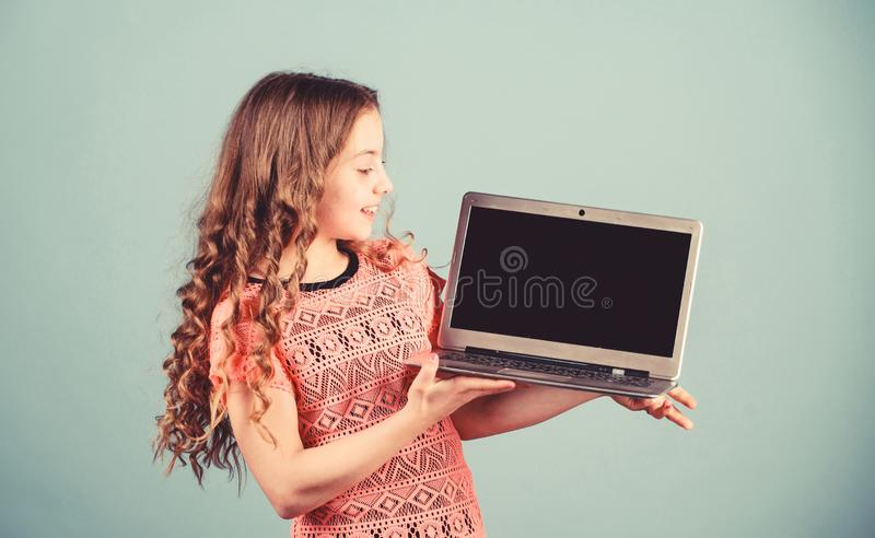 Shopping online. school project. home schooling education. kid development in digital age. Play internet surfing. Startup business. happy small girl with royalty free stock photo