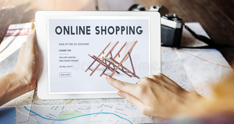 Shopping Online Shopaholics E-Commerce E-Shopping Concept royalty free stock photos