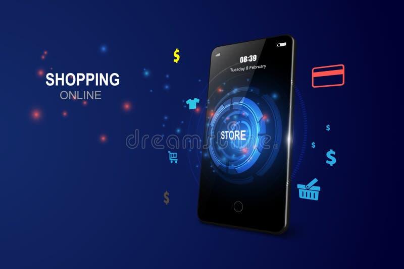 Shopping Online on Website or Mobile Application  Concept Marketing. vector illustration vector illustration