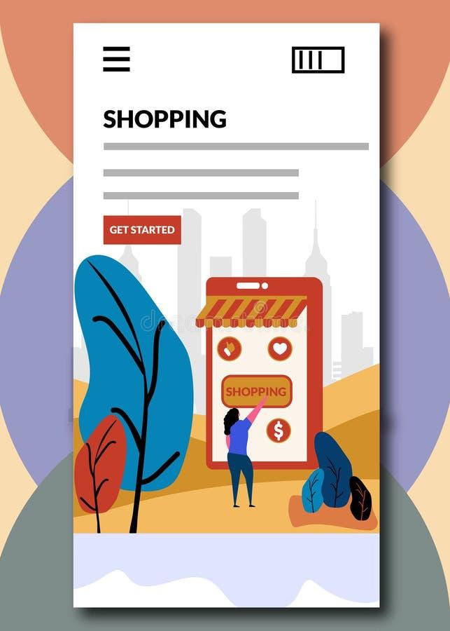 Shopping på att stiga ombord skärmden online-shoppa vektorillustrationen royaltyfri illustrationer