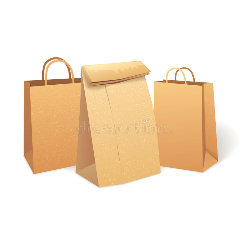 Shopping paper bag. Eco Market Promo. Shopping bags that save the environment.. Eco Market Promo vector illustration
