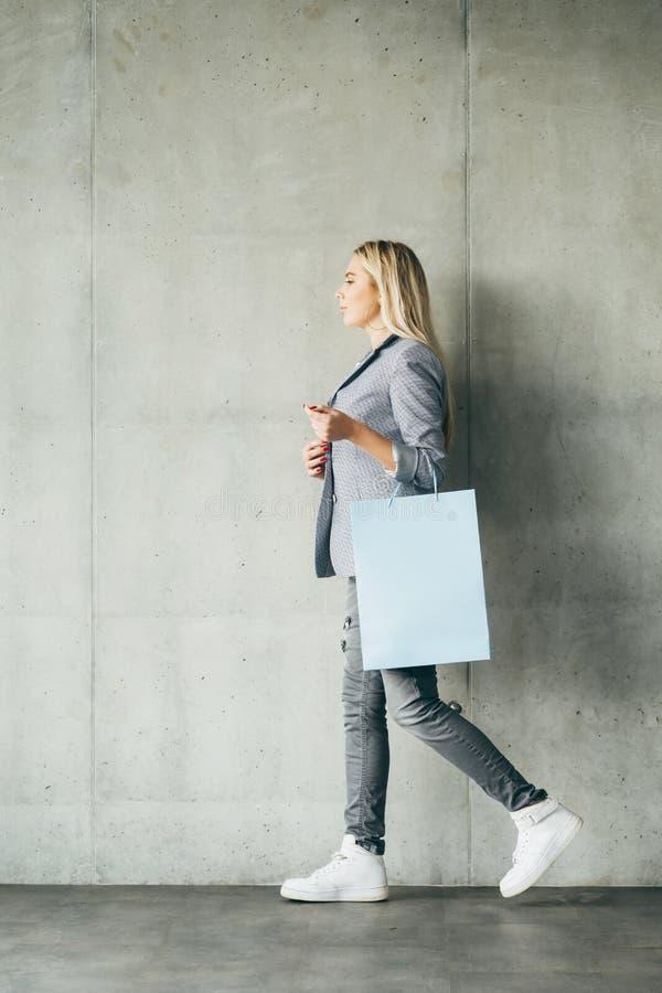 Shopping paper bag retail buying woman stock image