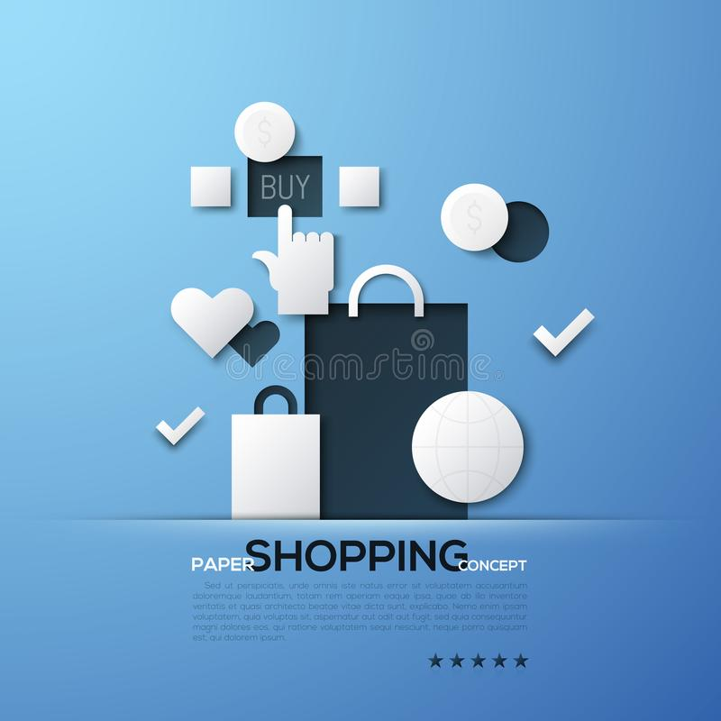 Shopping paper concept. White silhouettes of bags, globe, dollar coins and hand clicking on Buy button. Modern elements stock illustration