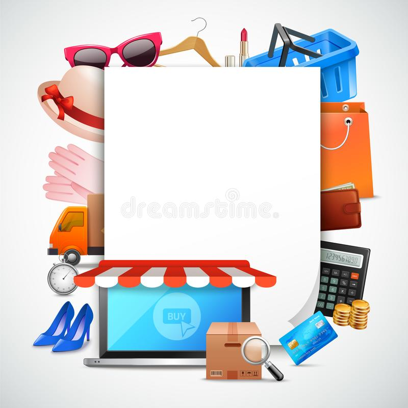 Shopping Paper Sheet Composition royalty free illustration
