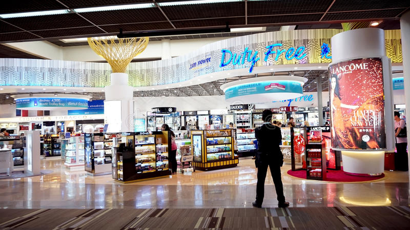Shopping paradise, Thailand airport duty free. Bangkok, Thailand- March 2015: Shopping paradise, Thailand airport duty free stock images