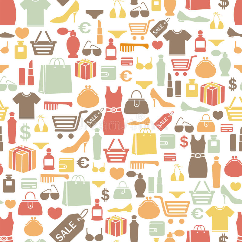 Shopping pattern. Seamless pattern with shopping icons