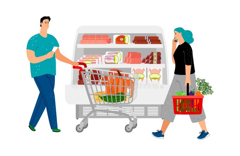 Shopping people. Man with shopping cart, girl with market basket. Grocery store vector illustration. Supermarket store market, people with basket in shop stock illustration