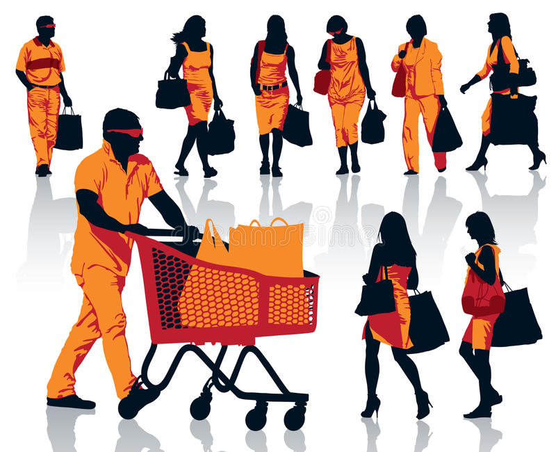 Download Shopping people stock vector. Image of cart, mall, business - 34331340