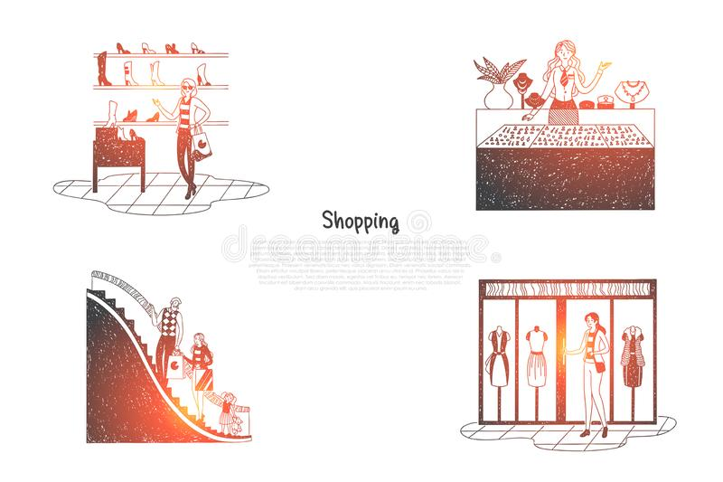 Shopping - people in trade centers looking at shop windows and making purchases vector concept set. Hand drawn sketch isolated illustration stock illustration