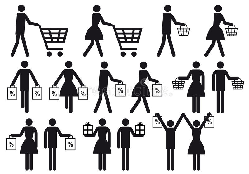 Download Shopping People, Vector Icon Set Royalty Free Stock Image - Image: 23374916