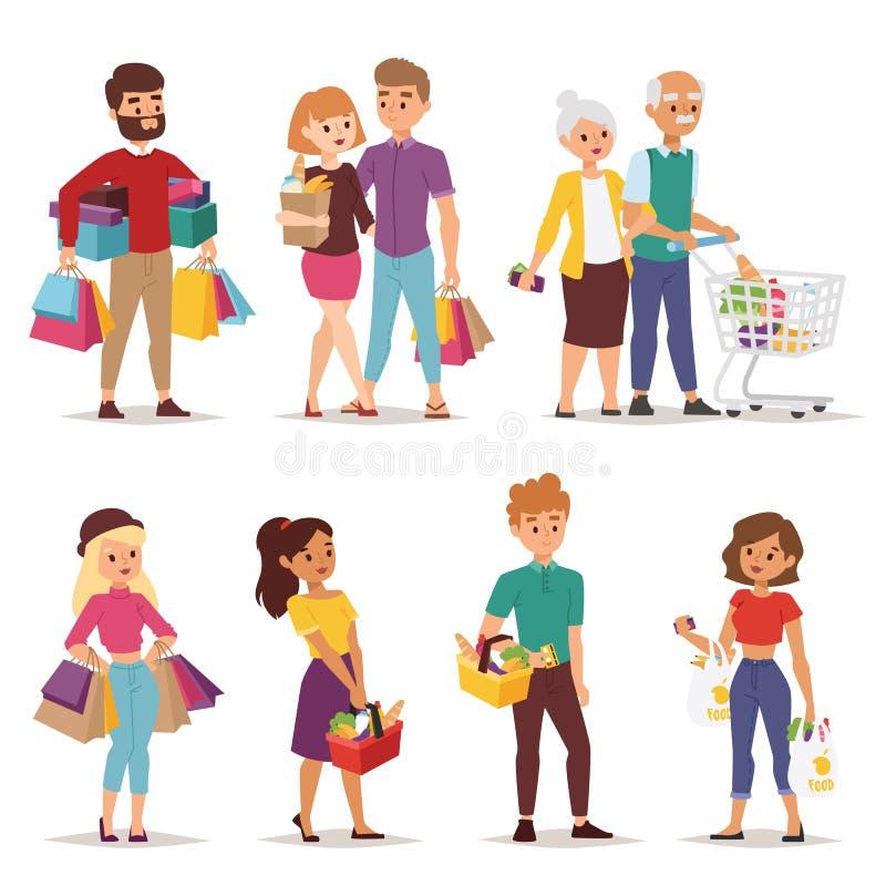 Shopping people vector set. stock illustration