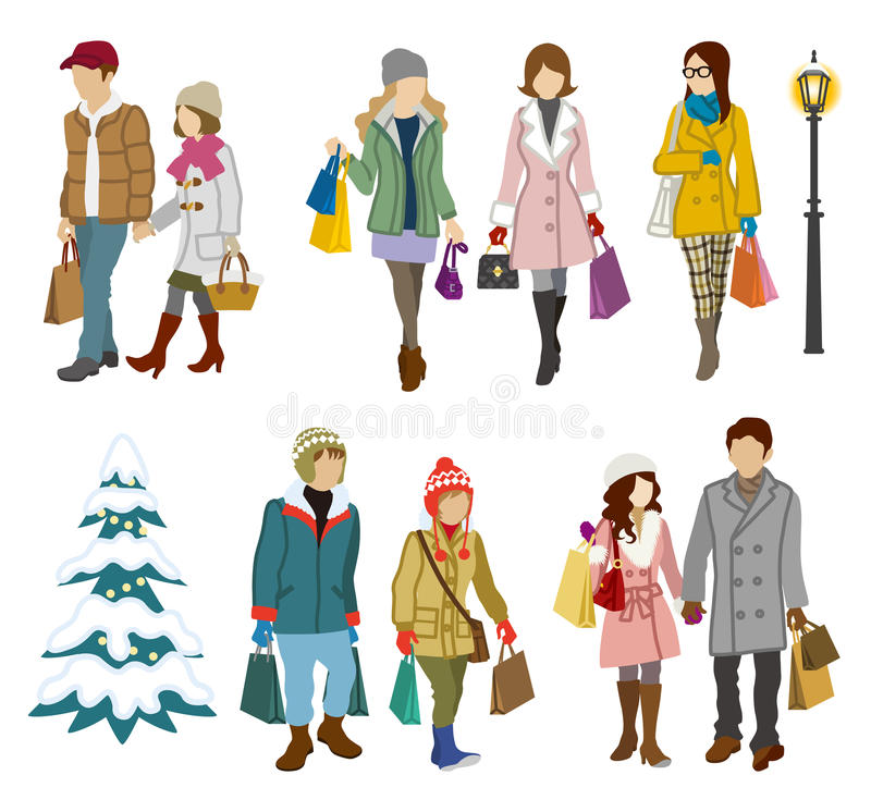 Shopping people winter, Young Adults. Vector illustration of Shopping people winter, Young Adults vector illustration