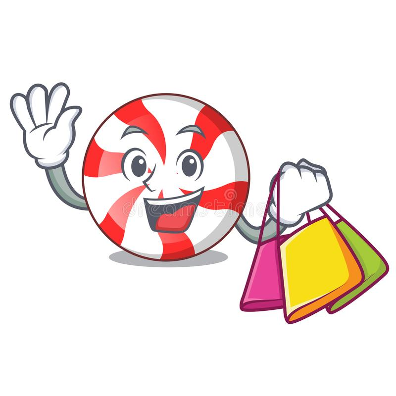 Shopping peppermint candy character cartoon stock illustration