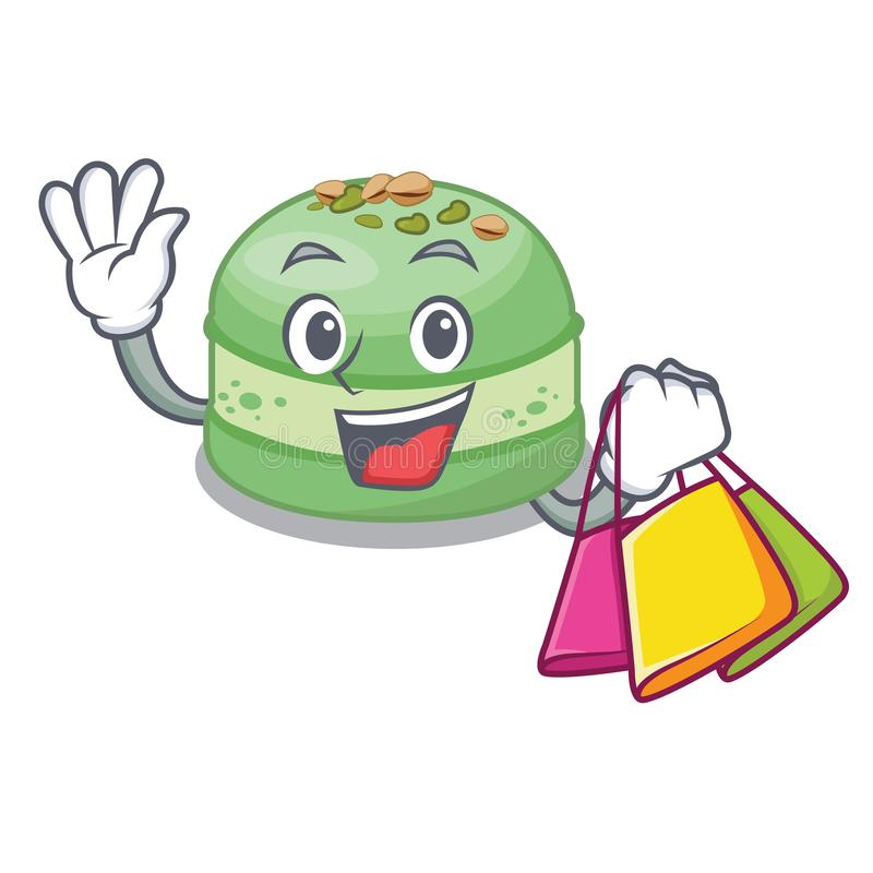 Shopping pistachio cake in the cartoon fridge vector illustration