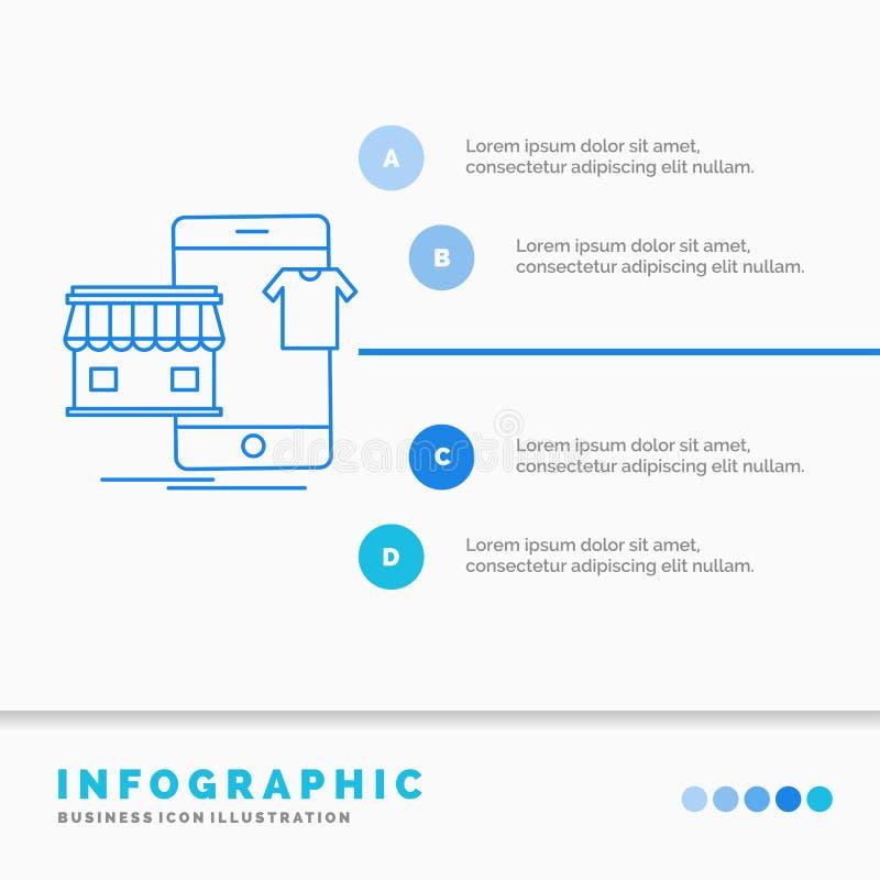 shopping plagg, köp, shoppar direktanslutet den Infographics mallen för Website och presentation Linje infographic stilvektor f?r vektor illustrationer