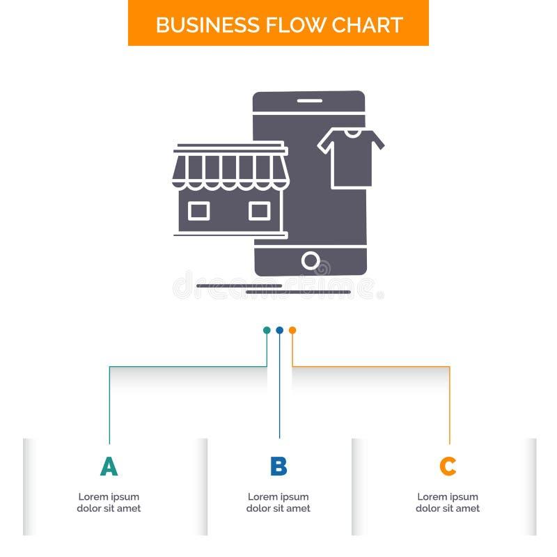 shopping plagg, köp, shoppar direktanslutet design för affärsflödesdiagram med 3 moment Sk?rasymbol f?r presentationsbakgrundsmal vektor illustrationer