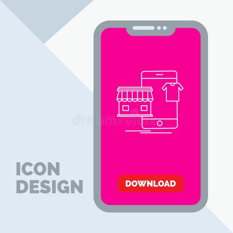 shopping plagg, köp, shoppar direktanslutet linjen symbol i mobilen för nedladdningsida stock illustrationer