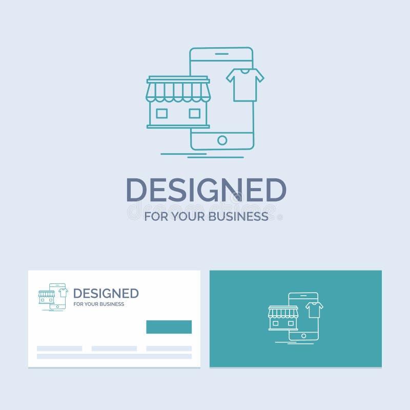 shopping plagg, köpet som är online-, shoppar affären Logo Line Icon Symbol för din affär Turkosaff?rskort med m?rkeslogo stock illustrationer