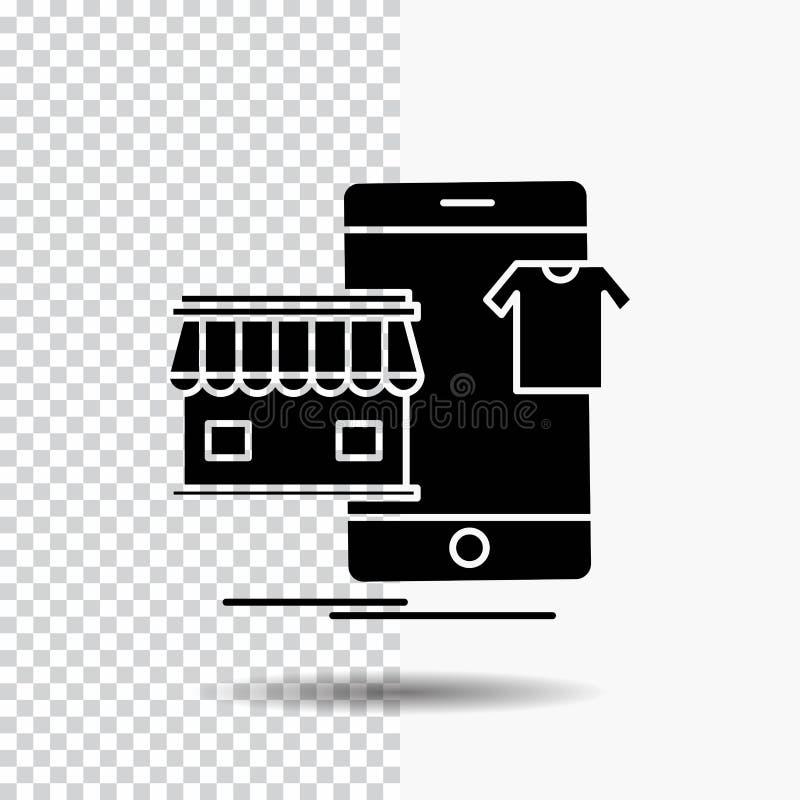 shopping plagg, köpet som är online-, shoppar skårasymbolen på genomskinlig bakgrund Svart symbol stock illustrationer
