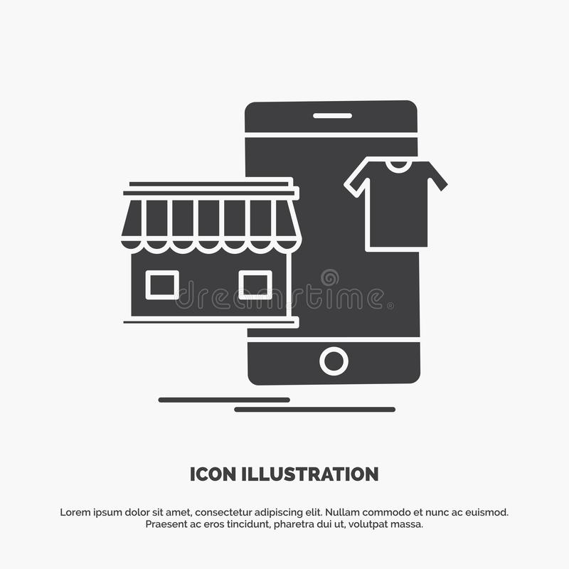 shopping plagg, köpet som är online-, shoppar symbolen gr?tt symbol f?r sk?ravektor f?r UI och UX, website eller mobil applikatio vektor illustrationer