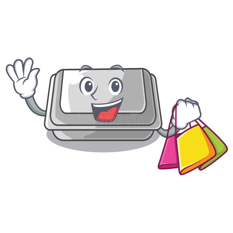 Shopping plastic box in the mascot shape. Vector illustration vector illustration