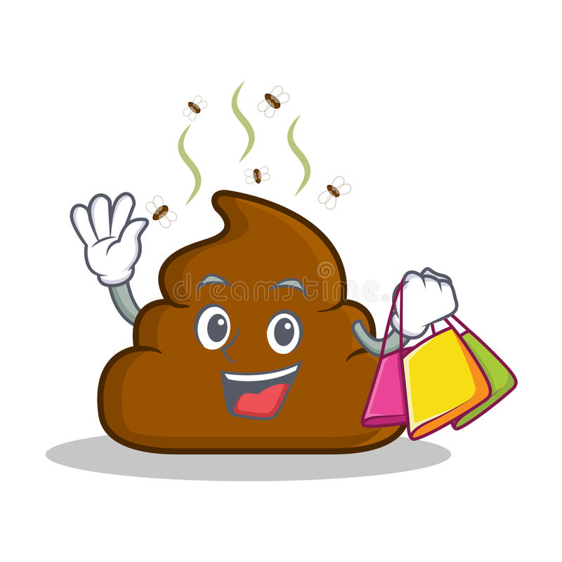Shopping Poop emoticon character cartoon vector illustration