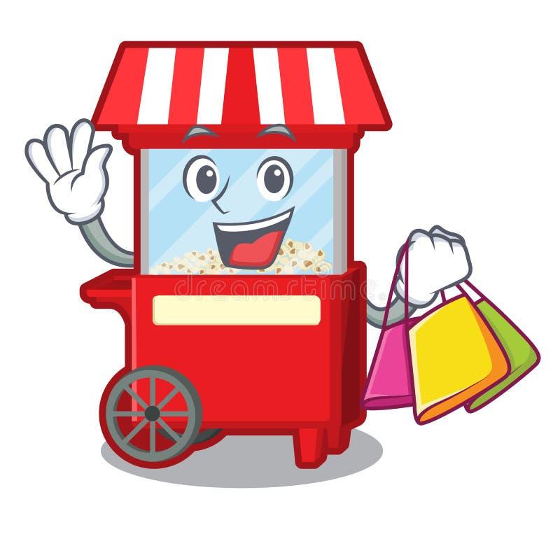 Shopping popcorn machine next to cartoon table royalty free illustration