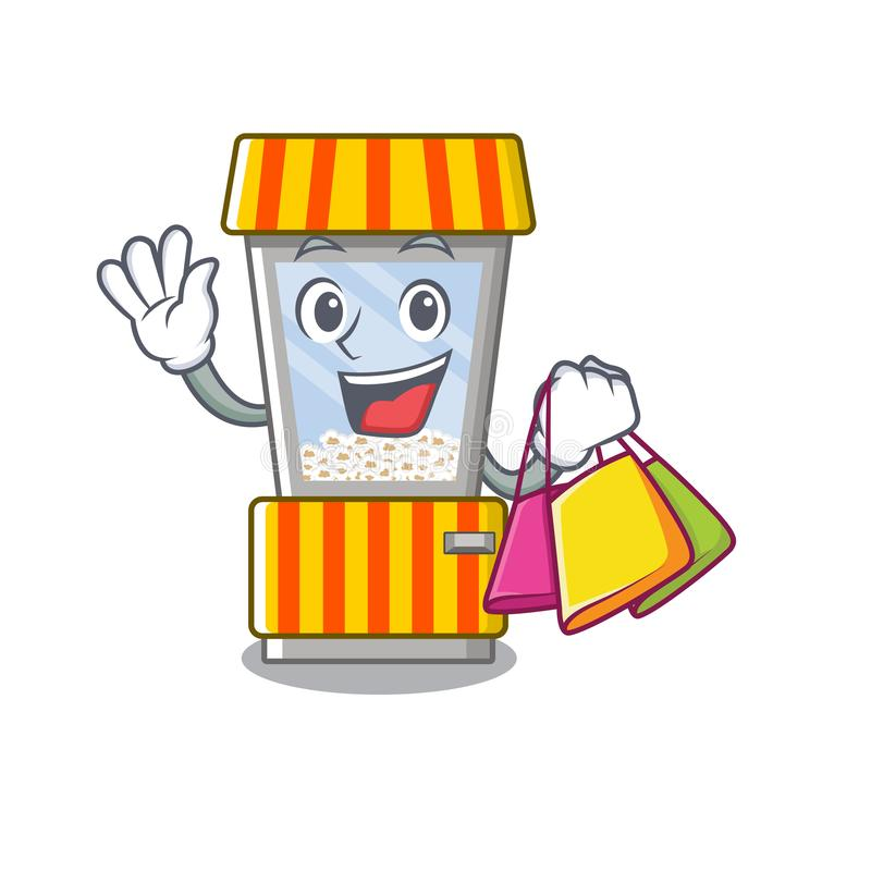 Shopping popcorn vending machine in a character royalty free illustration