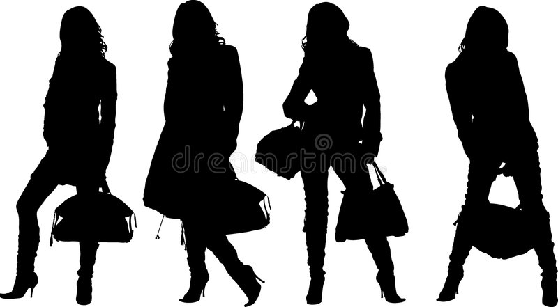 Shopping posing girls. Vectors silhouette royalty free illustration