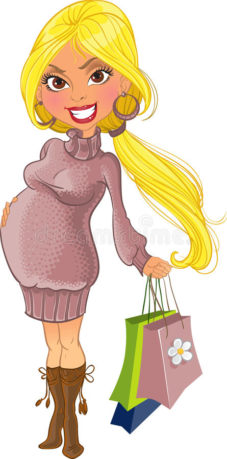 Shopping pregnant woman in violet sweater royalty free stock image
