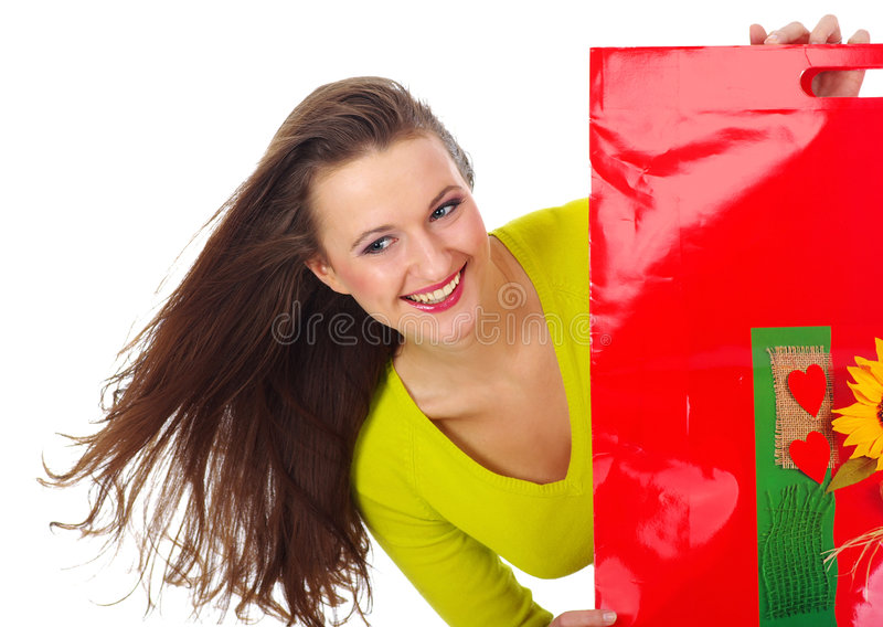 Shopping pretty woman over background stock photos