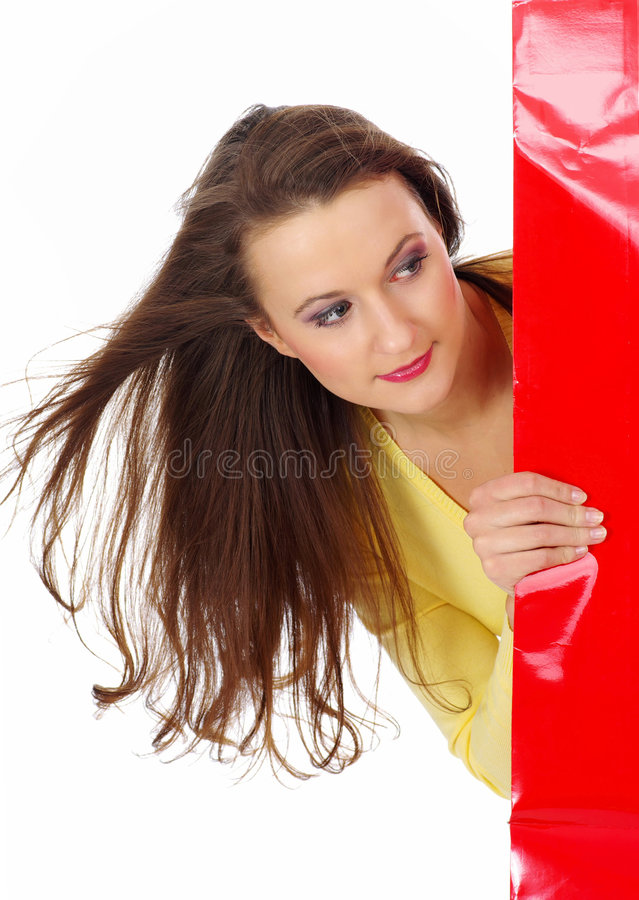 Shopping pretty woman over white background.  royalty free stock photos