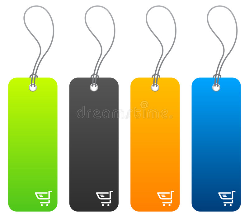 Shopping price tags in 4 colors. Set of 4 shopping price tags with tie strings