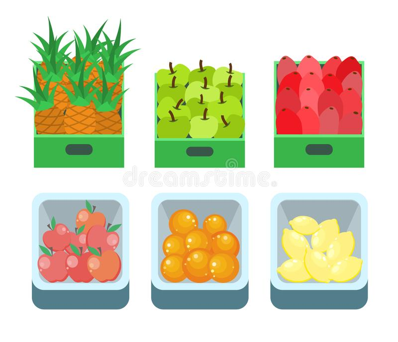 Shopping Products Pineapple Fruits Set Vector. Basket with lemon, oranges and apples, beetroot vegetables. Supermarket food in containers and boxes vector illustration