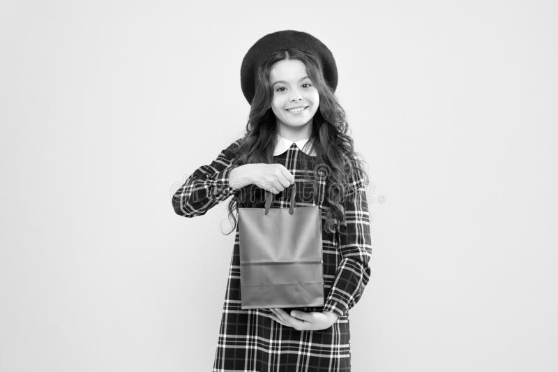 Shopping and purchase. Black friday. Sale discount. Shopping day. Little french lady adore shopping. Birthday girl. Favorite brands hottest trends. Girl with stock photography